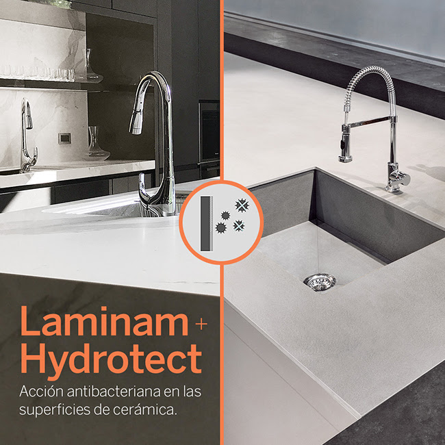 Laminam + Hydrotect. Acción antibacteriana en nuestras superficies