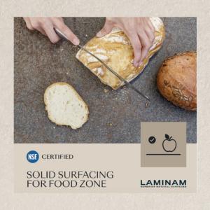 Laminam superficies idóneas para contacto y trabajo con alimentos