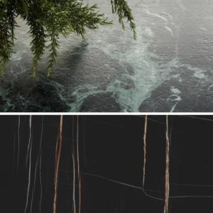 Verde Alpi y Sahara Noir Extra. Conoce nuestras nuevas superficies efecto mármol